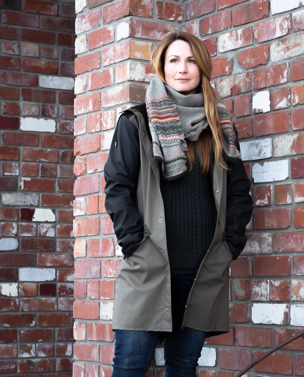 Rains   Colour Block Long Jacket   Charcoal & Mid Grey