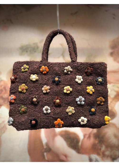 Sophie Digard   Crocheted Hand Bag   Coffee   Tiny Flowers - Small