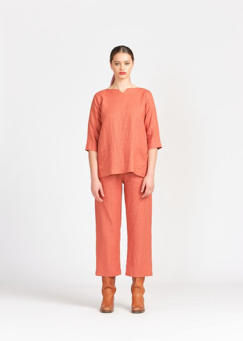 Widdess | Scout Top | Cinnamon | 100% Linen