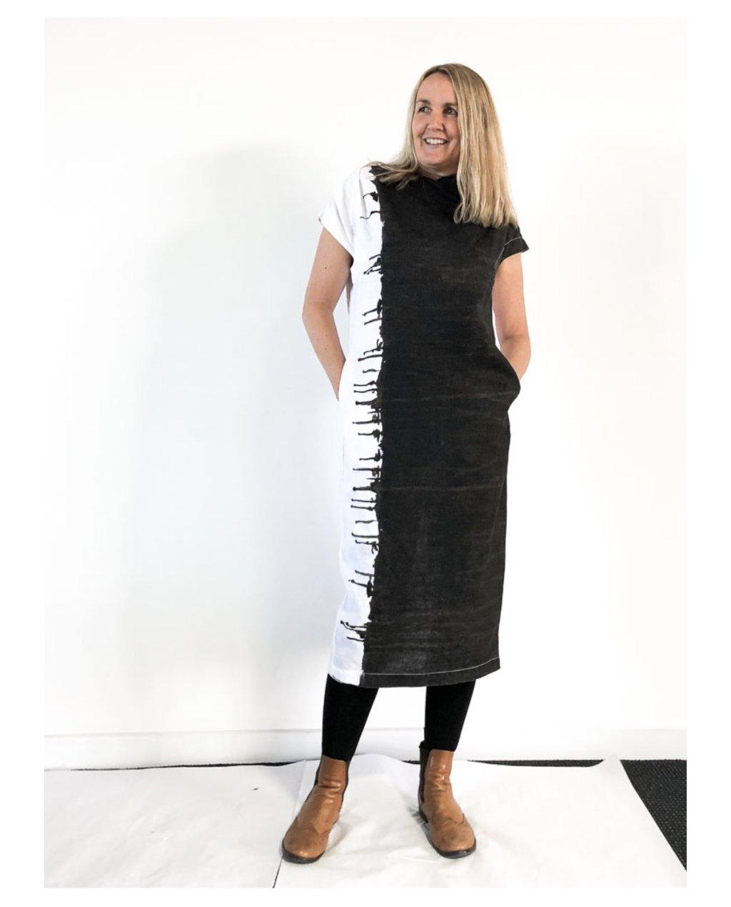 Banana Blue   Long Linen Dress   Black and White