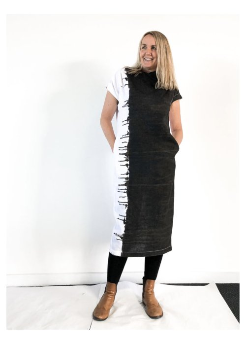 Banana Blue | Long Linen Dress | Black and White