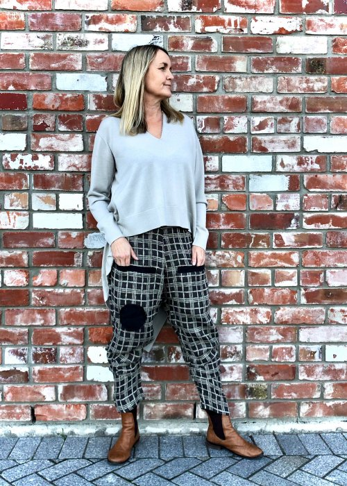 Banana Blue | Slouchy Linen Pants | Black & White Check