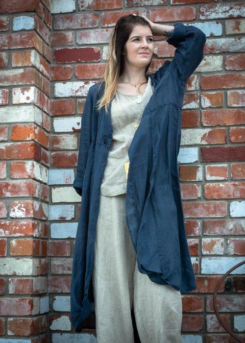 Banana Blue | Long Jacket |Linen - Navy