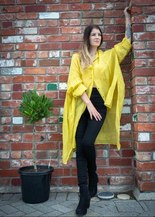 Banana Blue | Long Linen Shirt | Yellow