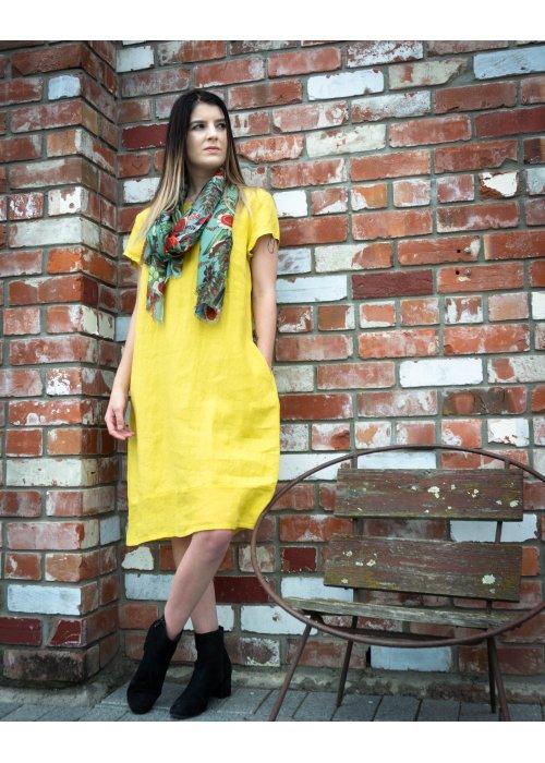 Banana Blue | Linen Dress | Bright Canola