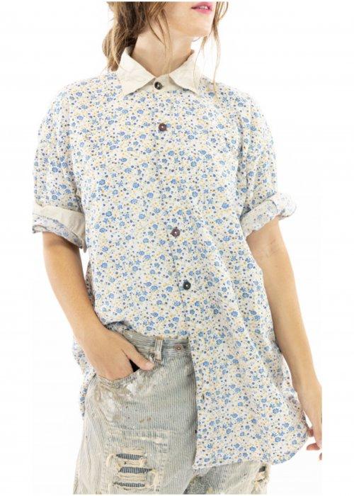 Magnolia Pearl | Boyfriend Shirt | Blue Bella | European Cotton Print
