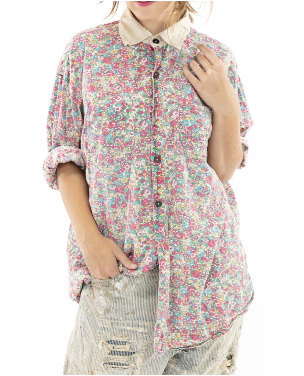 Magnolia Pearl   Boyfriend Shirt   Clover   European Cotton Print