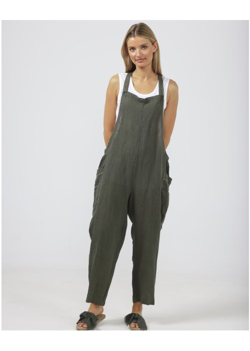 The Shanty Corporation | Colmar Overalls| Thyme | 100% linen