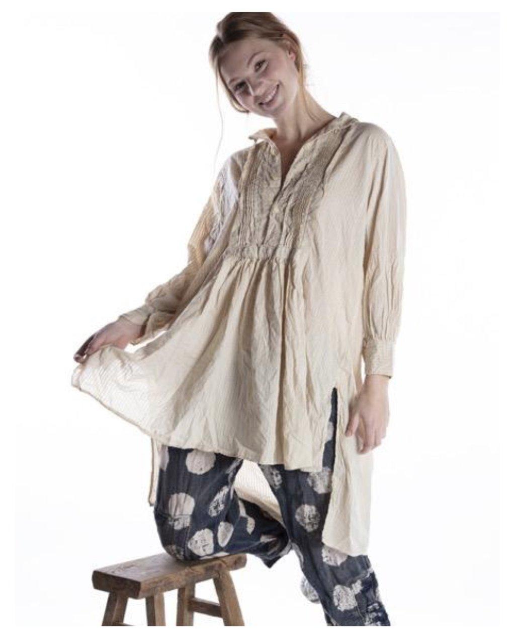 Magnolia Pearl | Cordelia Night Shirt| Striped Cotton | Moonlight
