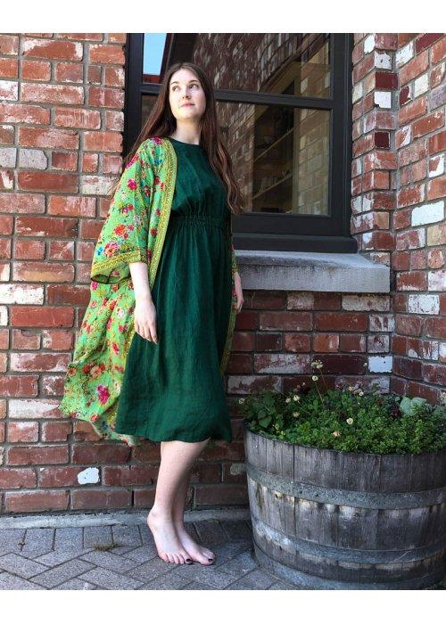 Seaside Tones | Linen Dress | Forest Green