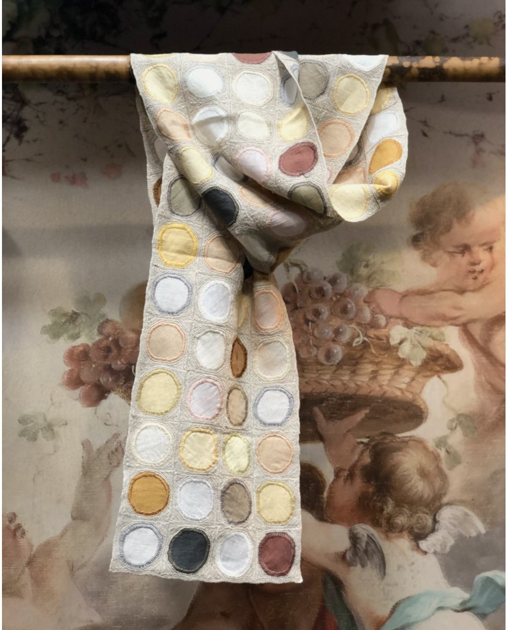 Sophie Digard | ALL NEW - SPRING 2020 |  Linen Scarf with Circle Embellishments