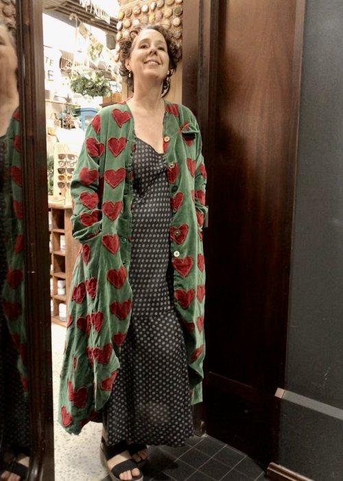 Magnolia Pearl |  Emery Coat | Cotton Velvet with Heart Applique | Midori