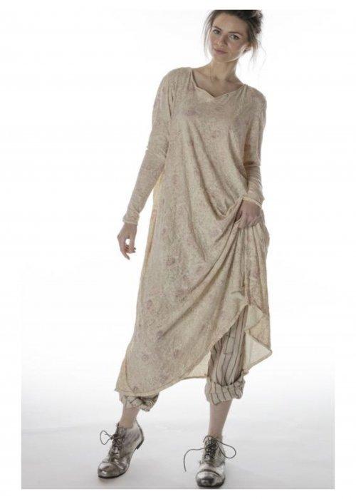 Magnolia Pearl | Cotton Jersey  T Dress | Hand-block-printed | Golden Poppy