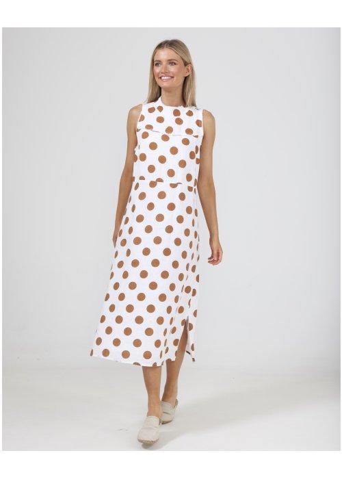 The Shanty Corporation | Helaina Dress | Tan Polka Dot | 100% linen