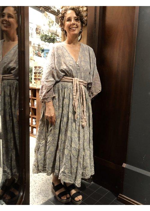Magnolia Pearl | Hera Gathered Waist Dress | Aura | Cotton Satin Hand-block Print