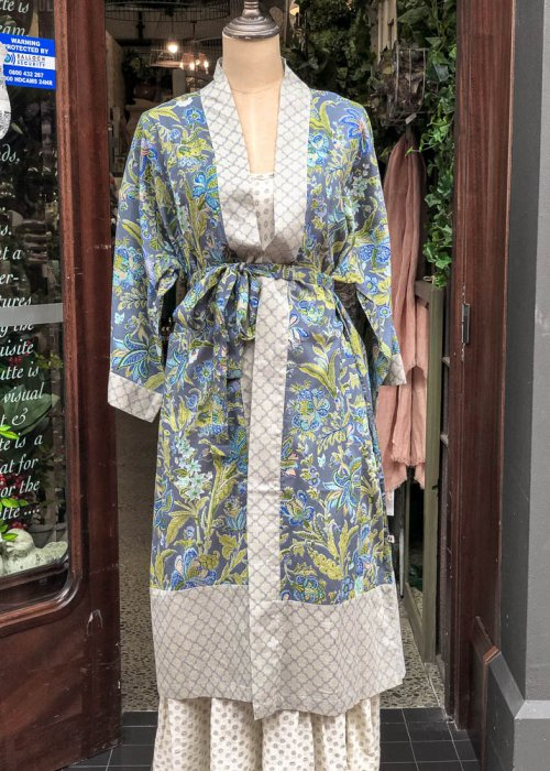 Stella & Gemma| Cotton Housecoat | Blue with Grey Trim