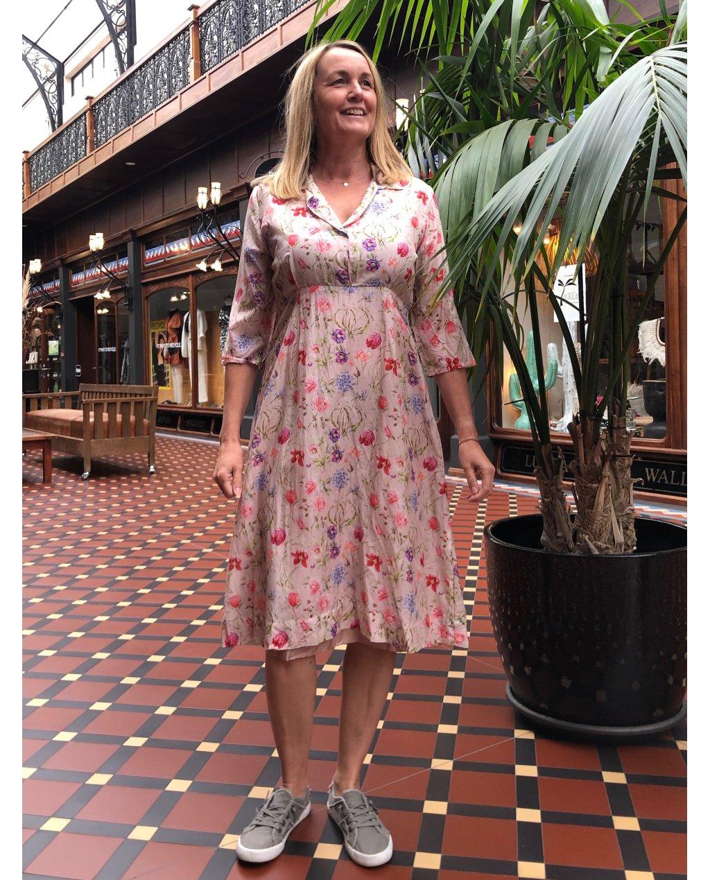 Jiva   1950s-style Tea Dress   100% Pure Silk   Pink Floral