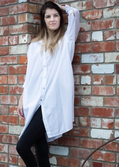 Meg by Design | Piper Paper Cotton Shirt | Long | White