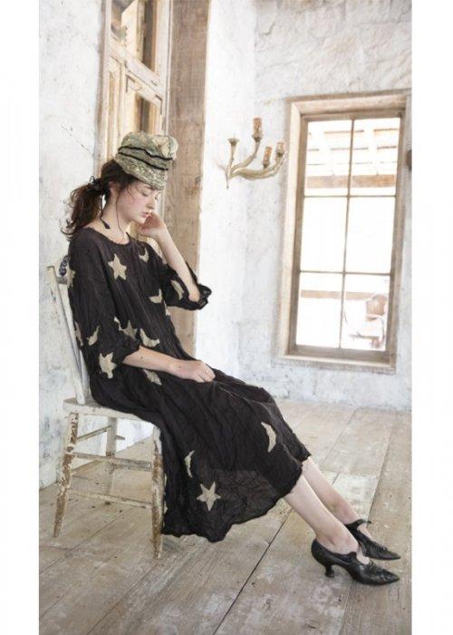 Magnolia Pearl | Cotton Twill Star & Moon Appliqué Merlina Dress | Midnight