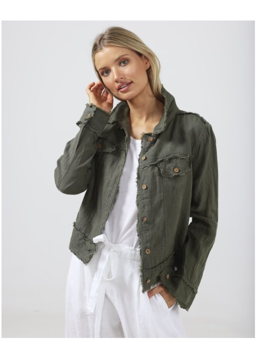The Shanty Corporation | Monza Jacket | Thyme | 100% Linen