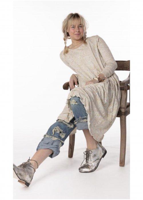 Magnolia Pearl | Cotton Jersey  T Dress | Hand-block-printed | Naranja