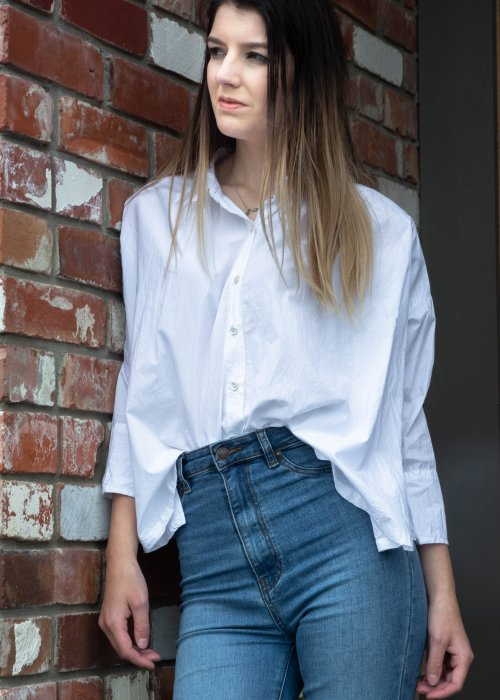Meg by Design | Piper Paper Cotton Shirt | White