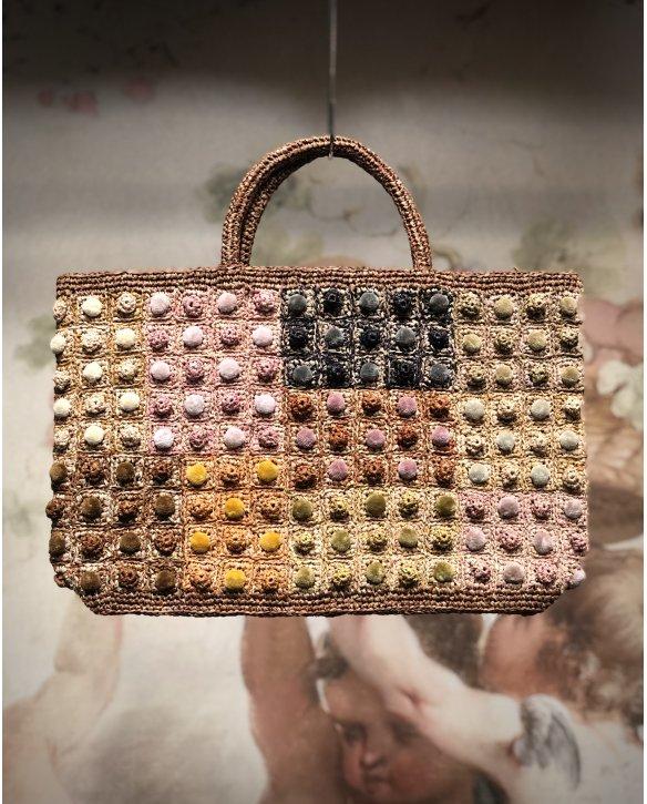 Sophie Digard | ALL NEW - SPRING 2020 | Large Raffia Hand Bag Multi-coloured Bobbles