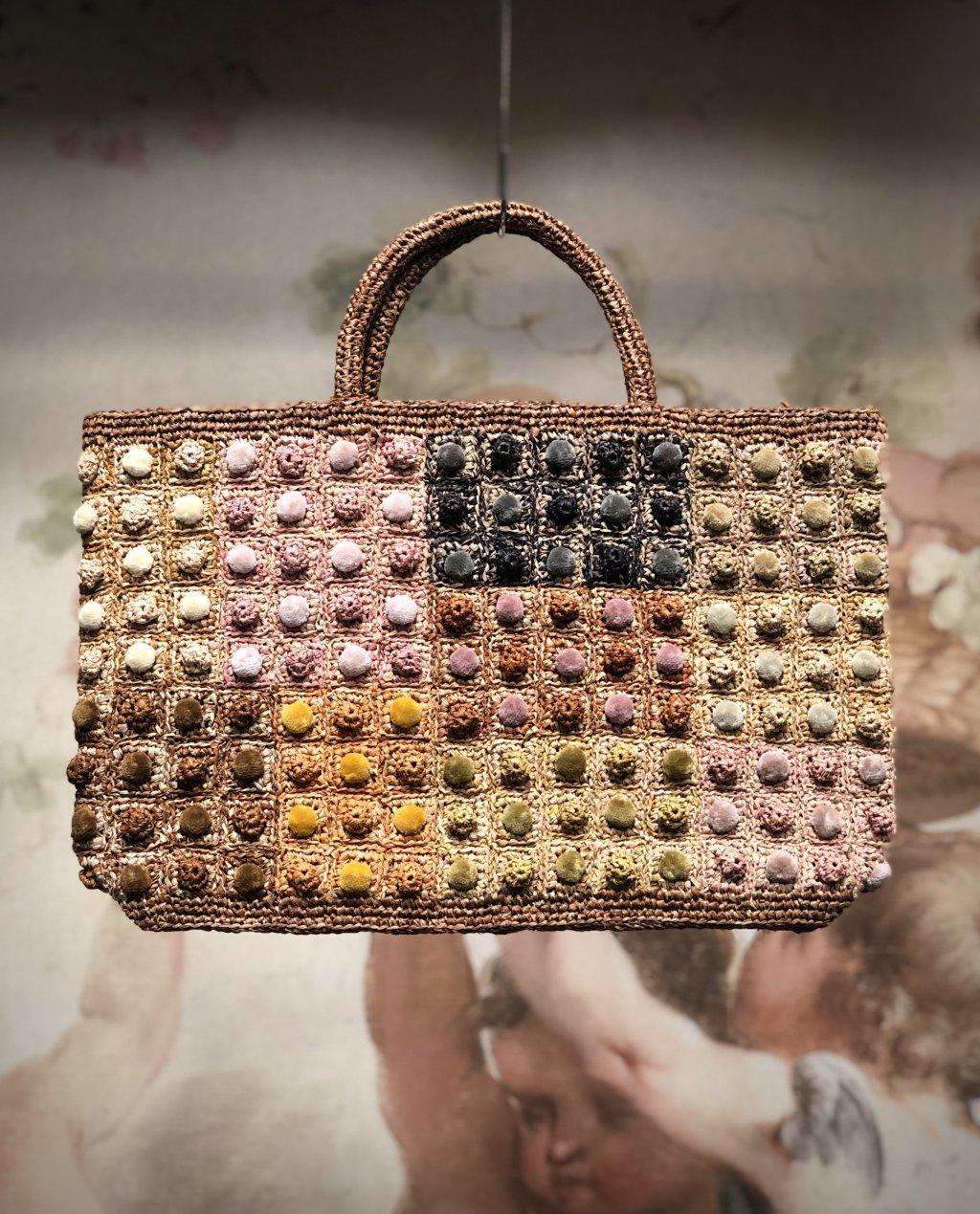 Sophie Digard   ALL NEW - SPRING 2020   Large Raffia Hand Bag Multi-coloured Bobbles