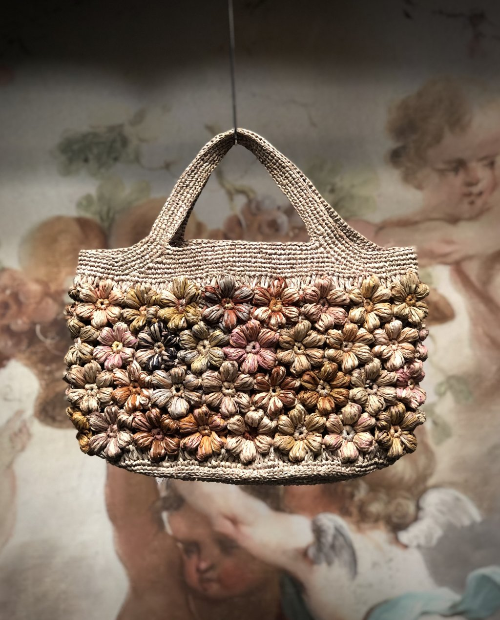 Sophie Digard   ALL NEW - SPRING 2020   Small Rafia Hand Bag with Decorative Flowers