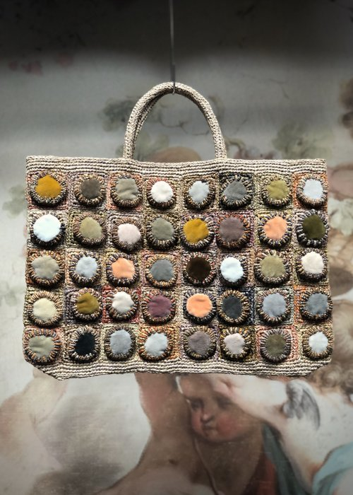 Sophie Digard | ALL NEW - SPRING 2020 | Large Rafia Hand Bag with Velvet Circles