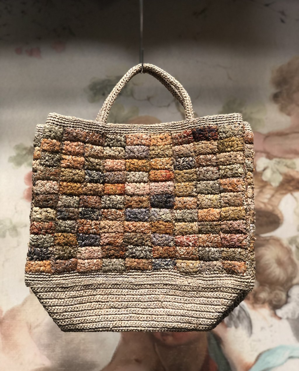 Sophie Digard | ALL NEW - SPRING 2020 | Large Raffia Hand Bag with Repeating Rectangle Design