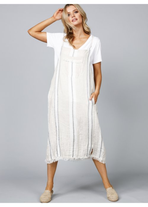 The Shanty Corporation | Pioneer Pinafore | Tuscan Stripe | Linen/Cotton Mix