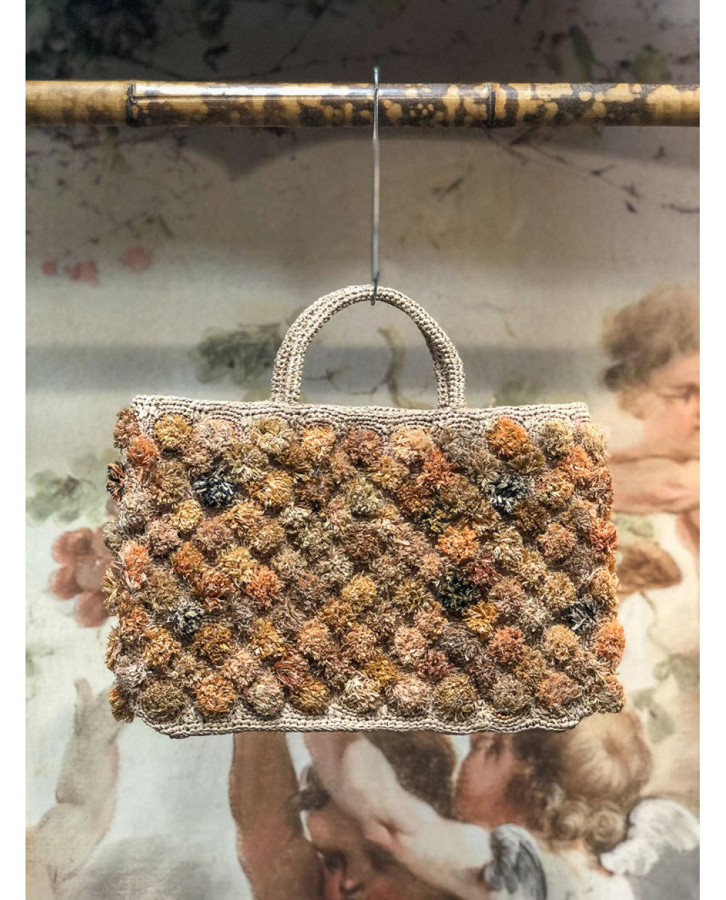 Sophie Digard   ALL NEW - SPRING 2020   Medium Crocheted Raffia Hand Bag