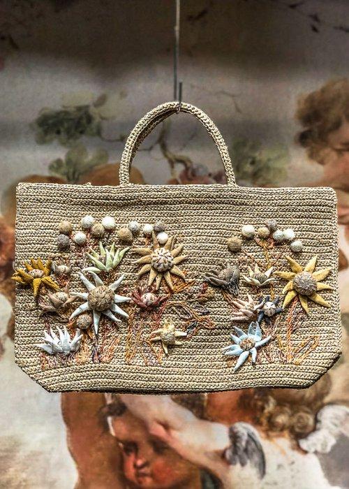 Sophie Digard | ALL NEW - SPRING 2020 | Flowers | Medium Raffia Hand Bag