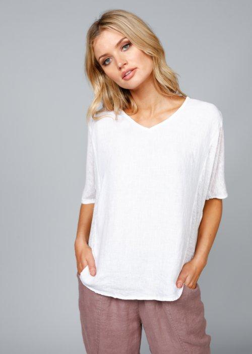 The Shanty Corporation | Livorno Top | White | 100% Linen