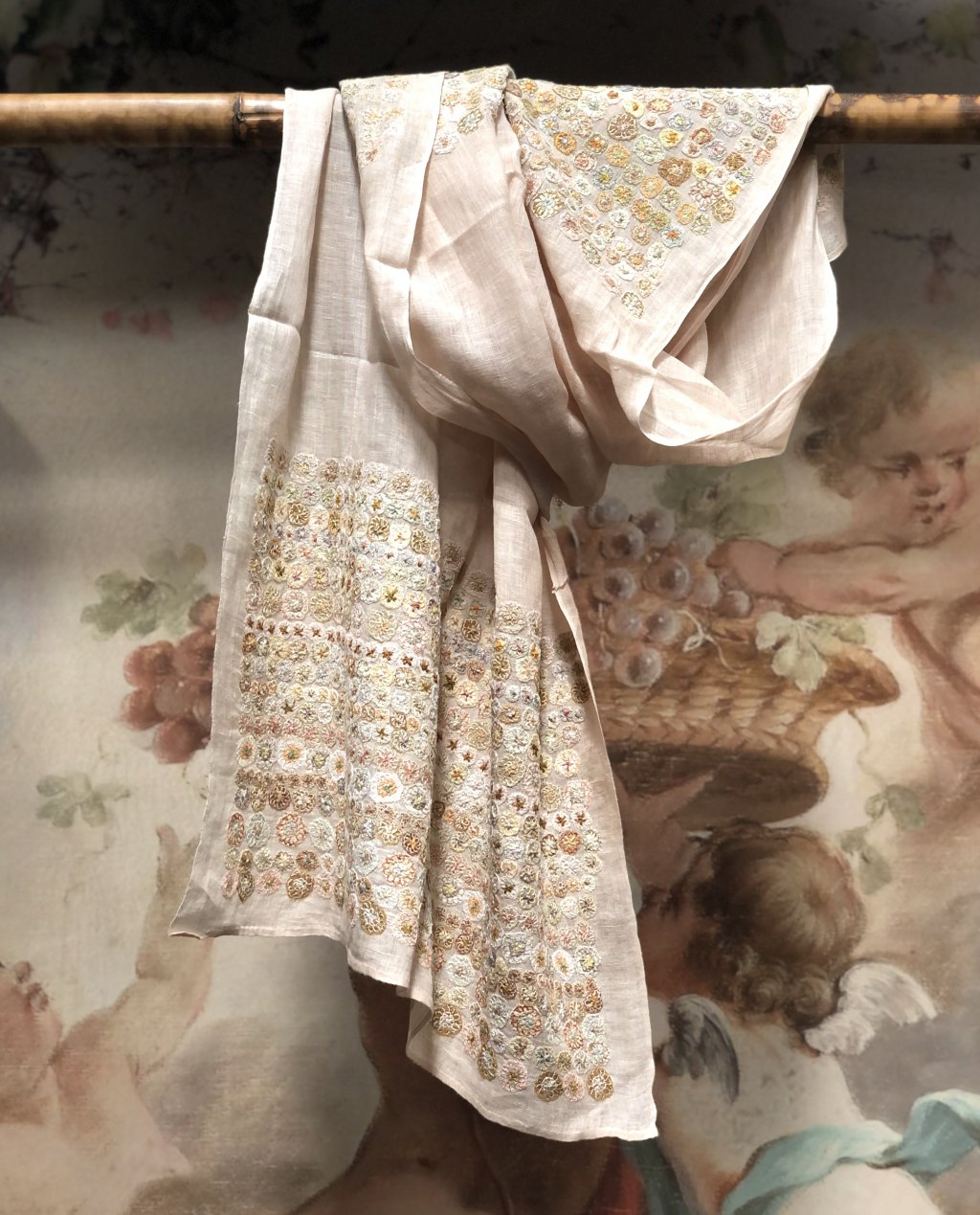 Sophie Digard   ALL NEW - SPRING 2020   Embroidered Linen Scarf - Soft Pink