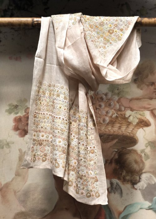 Sophie Digard | ALL NEW - SPRING 2020 | Embroidered Linen Scarf - Soft Pink