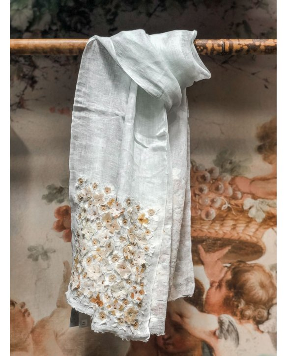 Sophie Digard | ALL NEW - SPRING 2020 |  Liselotte | Pale Blue Linen Stole with Flower Embellishments