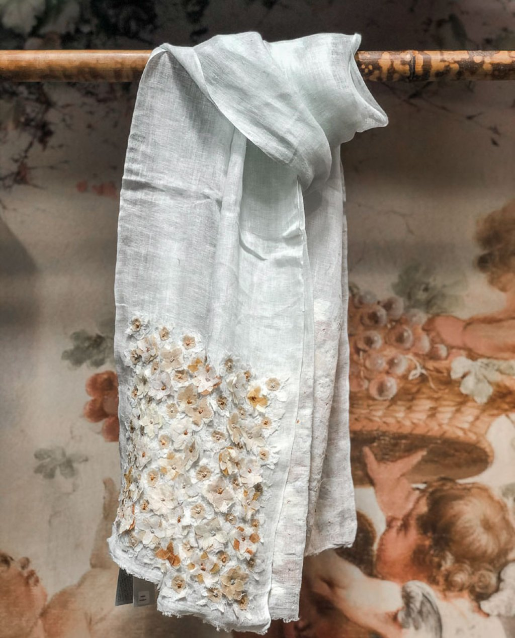 Sophie Digard   ALL NEW - SPRING 2020    Liselotte   Pale Blue Linen Stole with Flower Embellishments