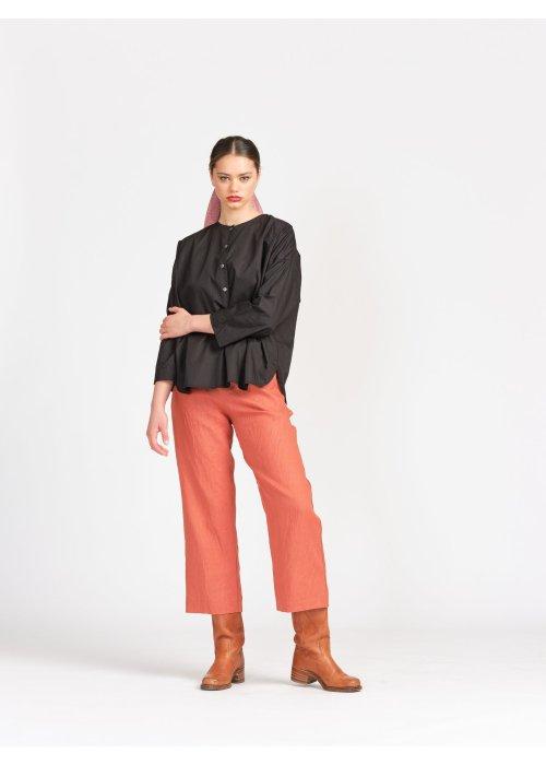Widdess | Viola Shirt | Black Poplin | 100% cotton