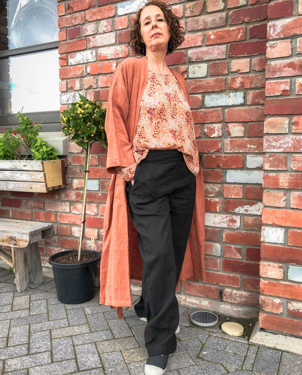 Bianca Lorenne   100% linen Housecoat   Cinnamon