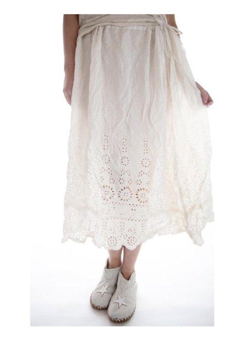 Magnolia Pearl   You Are My Sunflower Eyelet Slip Skirt  Antique White